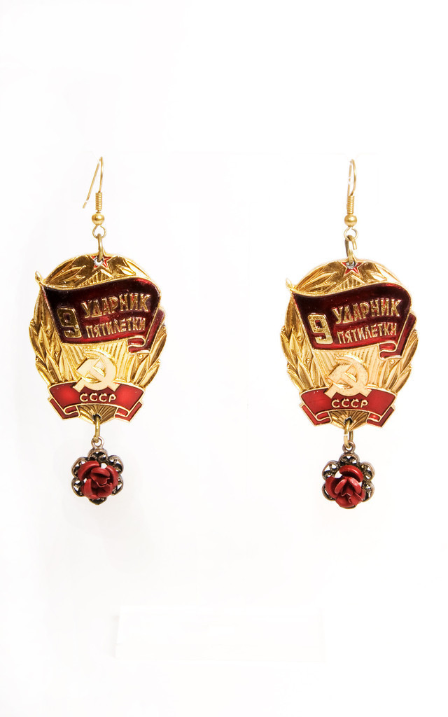 Red Rose Earrings by Anna Kompaniets