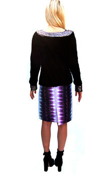 """i'll never get to heaven"" swarovski, leather & knit jumper by Dominique Kral Product photo"