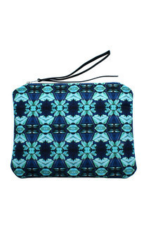 Zuri clutch with black patent leather and cyan bloom print by Carmen Woods Product photo