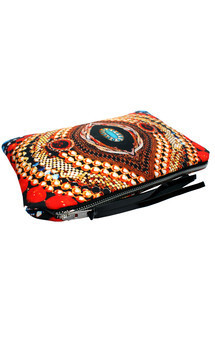 Zuri clutch with black patent leather and bright eyes print by Carmen Woods Product photo