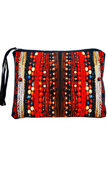 Zuri clutch with black patent leather and limitless charms print by Carmen Woods Product photo