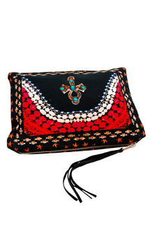 Zuri clutch with black patent leather and beloved cross print by Carmen Woods Product photo