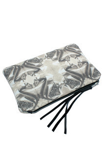 Zuri clutch with black patent leather and black & white jewelled corsage print by Carmen Woods Product photo
