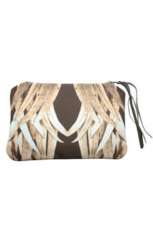 Zuri clutch with stone leather and sepia lucid leaves print by Carmen Woods Product photo