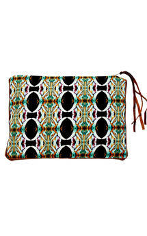 Papua iclutch with brown leather and plant life print by Carmen Woods Product photo