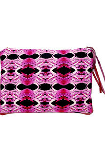 Papua iclutch with purple leather and natural warrior print by Carmen Woods Product photo