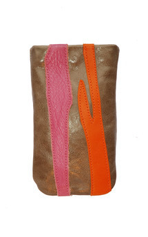 Roque icase in stone, orange & pink leather by Carmen Woods Product photo