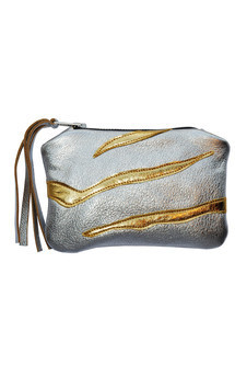 Roya purse in silver & gold leather by Carmen Woods Product photo