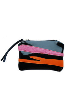 Roya purse in black patent, orange & pink leather by Carmen Woods Product photo