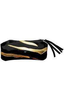 Rosa case in black patent & gold leather by Carmen Woods Product photo