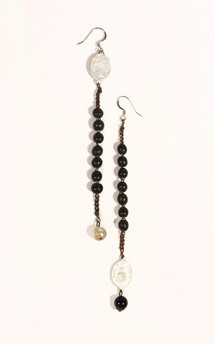 Rosary & pearl earrings by Heroldian Jewellery Product photo