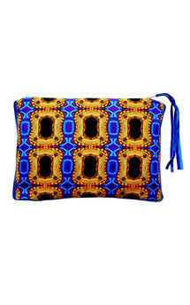 Sabine clutch with blue leather and imperial treasure print by Carmen Woods Product photo