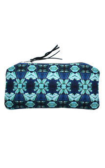 Rosa case with black patent leather and cyan bloom print by Carmen Woods Product photo