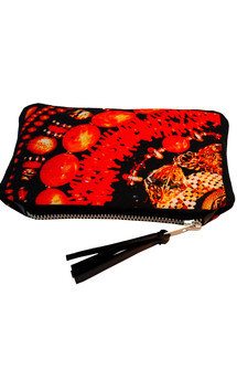 Roya purse with black patent leather and amber moon print by Carmen Woods Product photo