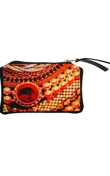 Roya purse with black patent leather and arc of splendour print by Carmen Woods Product photo