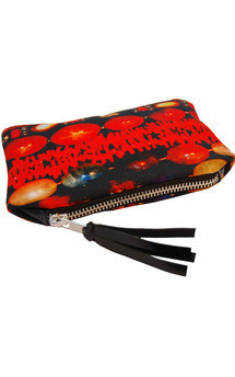 Roya purse with black patent leather and layers of luxury print by Carmen Woods Product photo