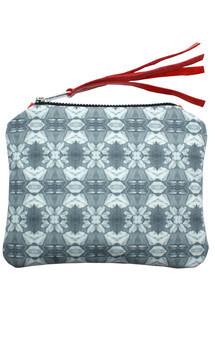 Roya purse with coral leather and black & white cyan bloom print by Carmen Woods Product photo