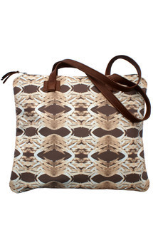 Antigua tote with brown leather and sepia natural warrior print by Carmen Woods Product photo