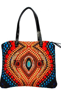 Antigua tote with patent black leather and bright eyes print by Carmen Woods Product photo