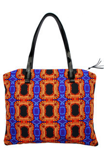 Antigua tote with patent black leather and imperial treasure print by Carmen Woods Product photo