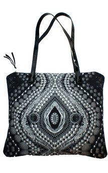 Antigua tote with patent black leather and black & white bright eyes print by Carmen Woods Product photo