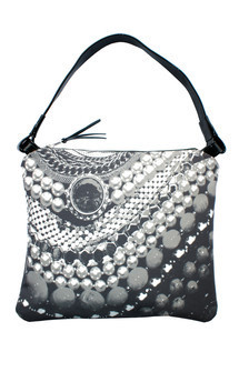 Matilla bag with patent black leather and black & white arc of splendour print by Carmen Woods Product photo