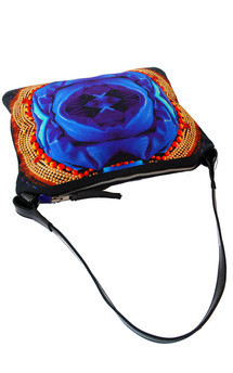 Matilla with patent black leather and royal lotus print by Carmen Woods Product photo