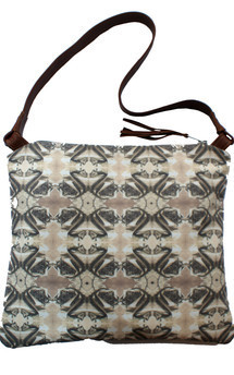 Matilla bag with brown leather and sepia jewelled corsage print by Carmen Woods Product photo