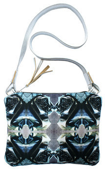 Oliva across body bag with silver leather and jewelled corsage print by Carmen Woods Product photo