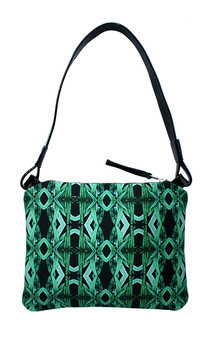 Oliva over shoulder bag with patent black leather and tribal garden print by Carmen Woods Product photo