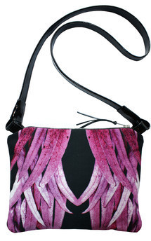 Oliva across body bag with patent black leather and lucid leaves print by Carmen Woods Product photo