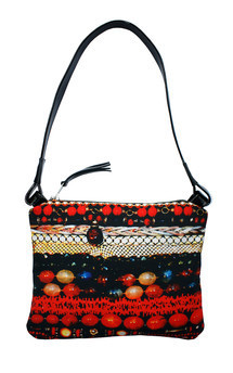 Oliva over shoulder bag with patent black leather and layers of luxury print by Carmen Woods Product photo