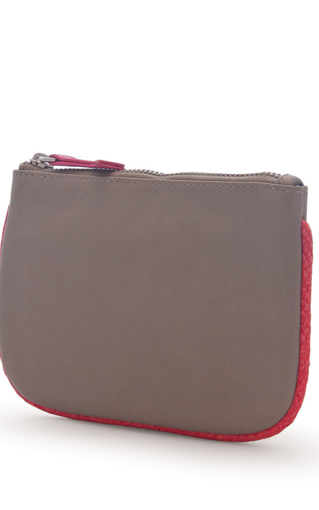 Brick Red Hoop Salmon And Nappa Leather Coin Purse by Heidi Mottram