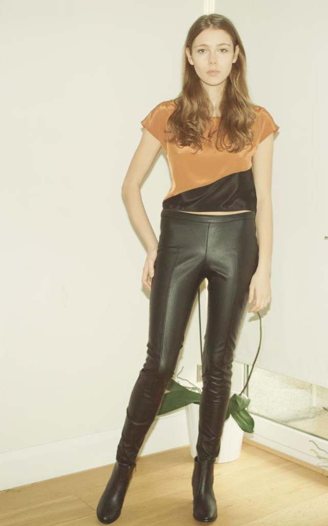 A/W 13 Amber and black diagonal crop blouse by Silence Beyond Syllables