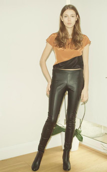 A::W 13 amber and black diagonal crop blouse by Silence Beyond Syllables Product photo