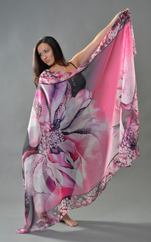 Hybrid rose print chiffon oversized scarf by Leanne Claxton Product photo