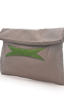High wire salmon and nappa leather clutch by Heidi Mottram Product photo