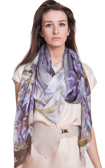Wisteria print silk scarf by Claire Andrew Product photo