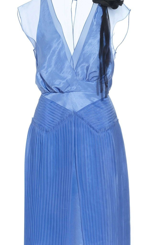 Elegant Silk Linen Pleated Dress by Danilo Gabrielli