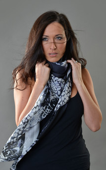 B&w hybrid rose print chiffon scarf 140cm by Leanne Claxton Product photo