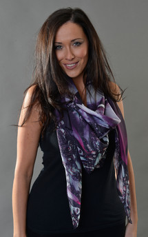 Dark orchid print chiffon scarf 140cm by Leanne Claxton Product photo