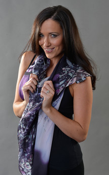 Dark orchid print silk scarf140cm by Leanne Claxton Product photo