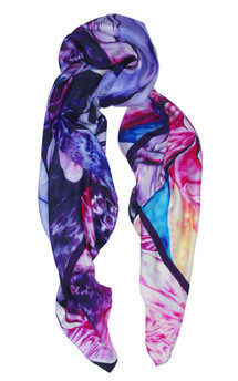 Leopard floral print silk scarf 140cm by Leanne Claxton Product photo