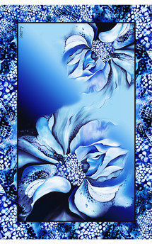 Blue hybrid rose print chiffon oversized scarf by Leanne Claxton Product photo