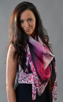 Hybrid rose print silk scarf 140cm by Leanne Claxton Product photo