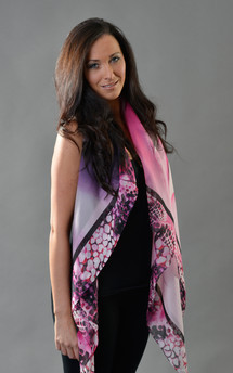 Hybrid rose print chiffon scarf 140cm by Leanne Claxton Product photo