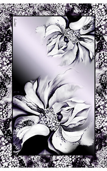 B&w hybrid rose print chiffon oversized scarf by Leanne Claxton Product photo