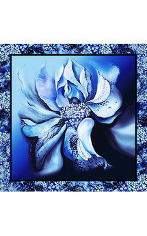Blue hybrid rose print silk scarf 140cm by Leanne Claxton Product photo