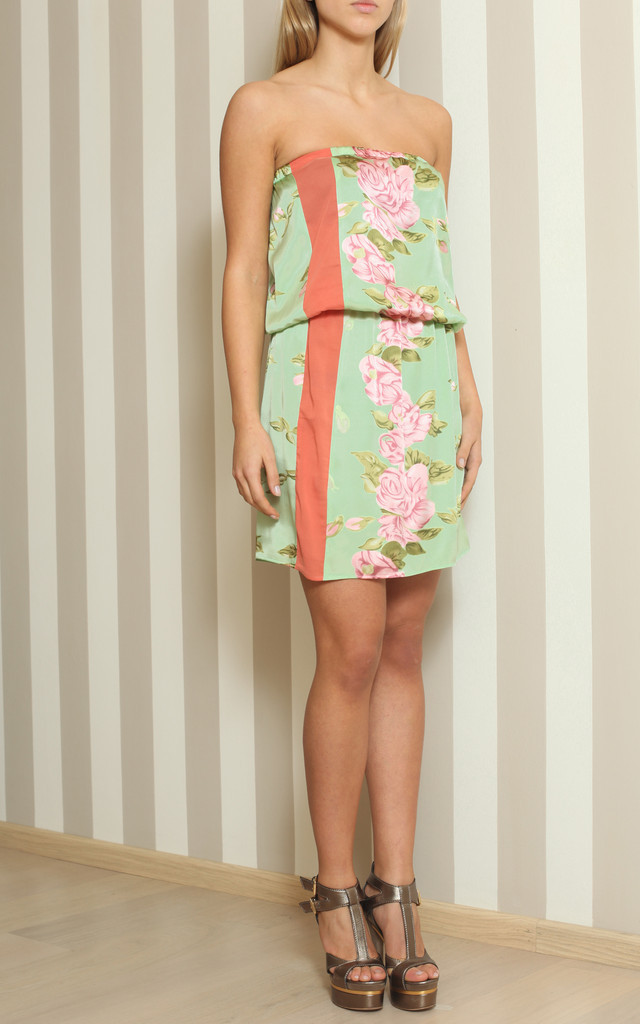 PRINT SILK DRESS WITH ROSES by Maison39