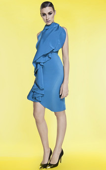 Ruffled silk crepe dress by Sophia Grace Product photo